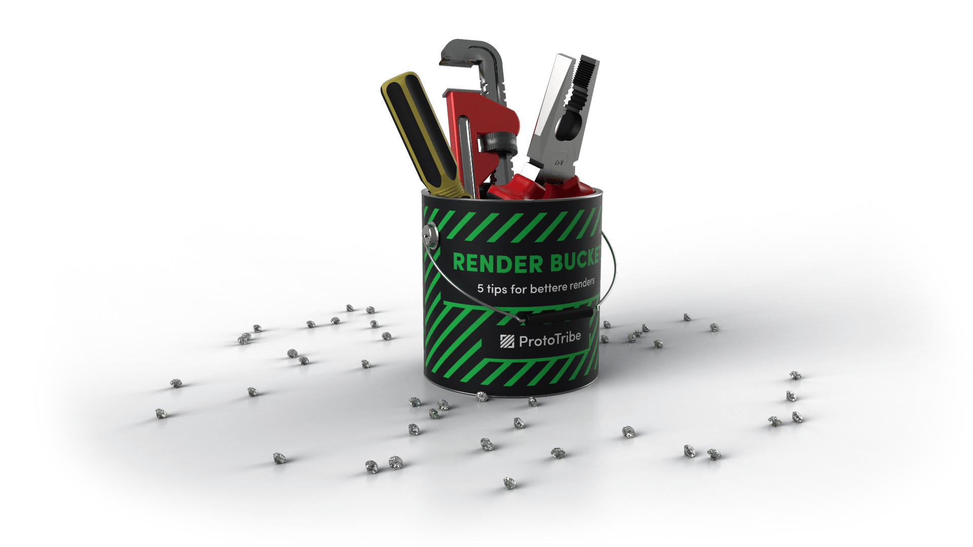 Rendered tools in a bucket from Prototribe